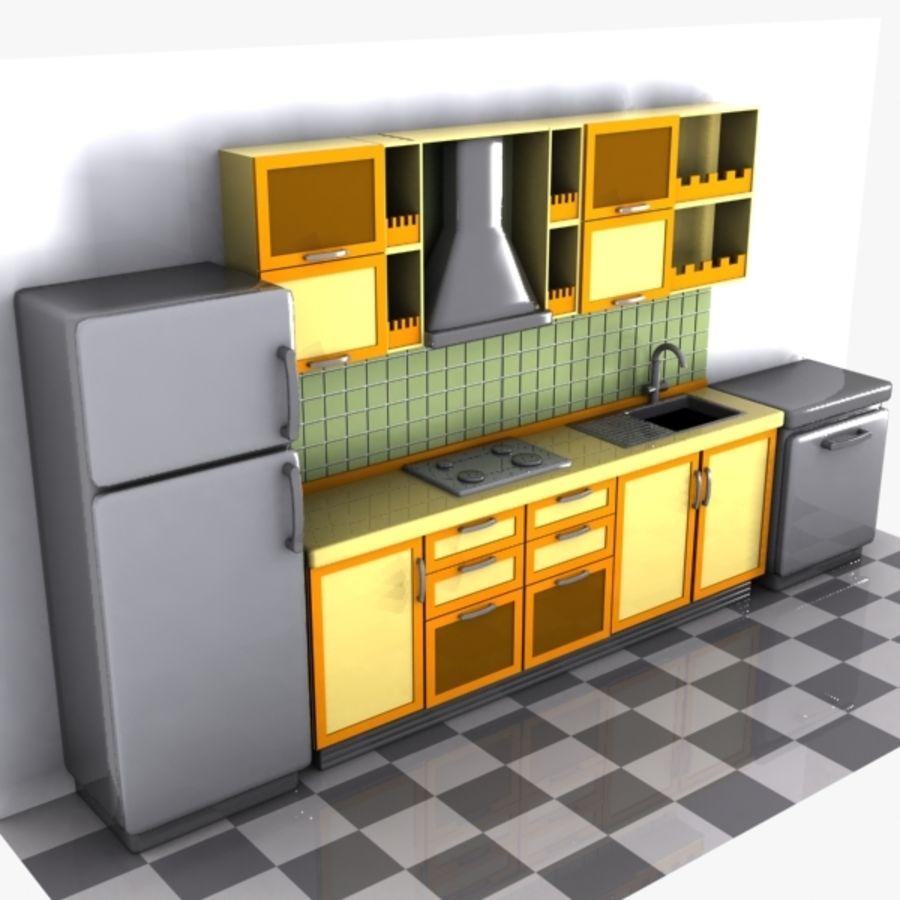 Cartoon Kitchen Interior royalty-free 3d model - Preview no. 5