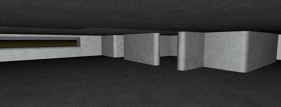 WW2 Bunker, 2 levels, 5 rooms, (Low Poly) royalty-free 3d model - Preview no. 8