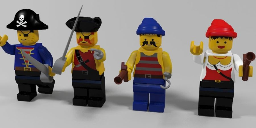 Pirates lego karaktärer royalty-free 3d model - Preview no. 1