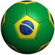 Bandeira de bola de futebol do Brasil 3d model