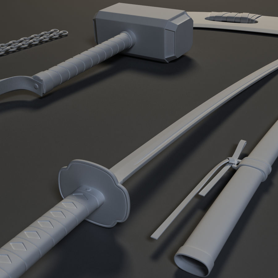 Weapons Pack - Melee 1 royalty-free 3d model - Preview no. 11