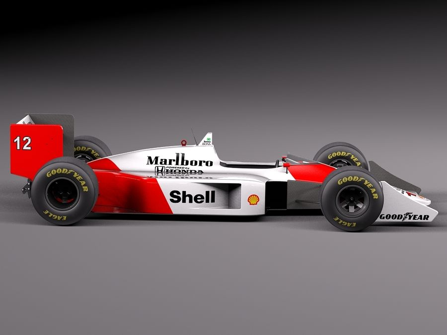 McLaren Honda Mp4-4 Ayrton Senna F1 royalty-free 3d model - Preview no. 7