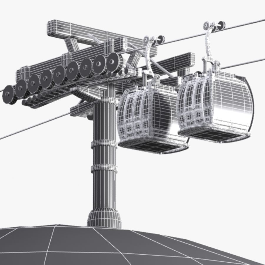 Cartoon Aerial Tramway royalty-free 3d model - Preview no. 10