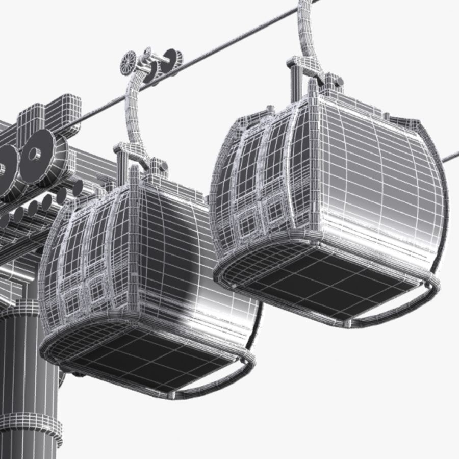 Cartoon Aerial Tramway royalty-free 3d model - Preview no. 9