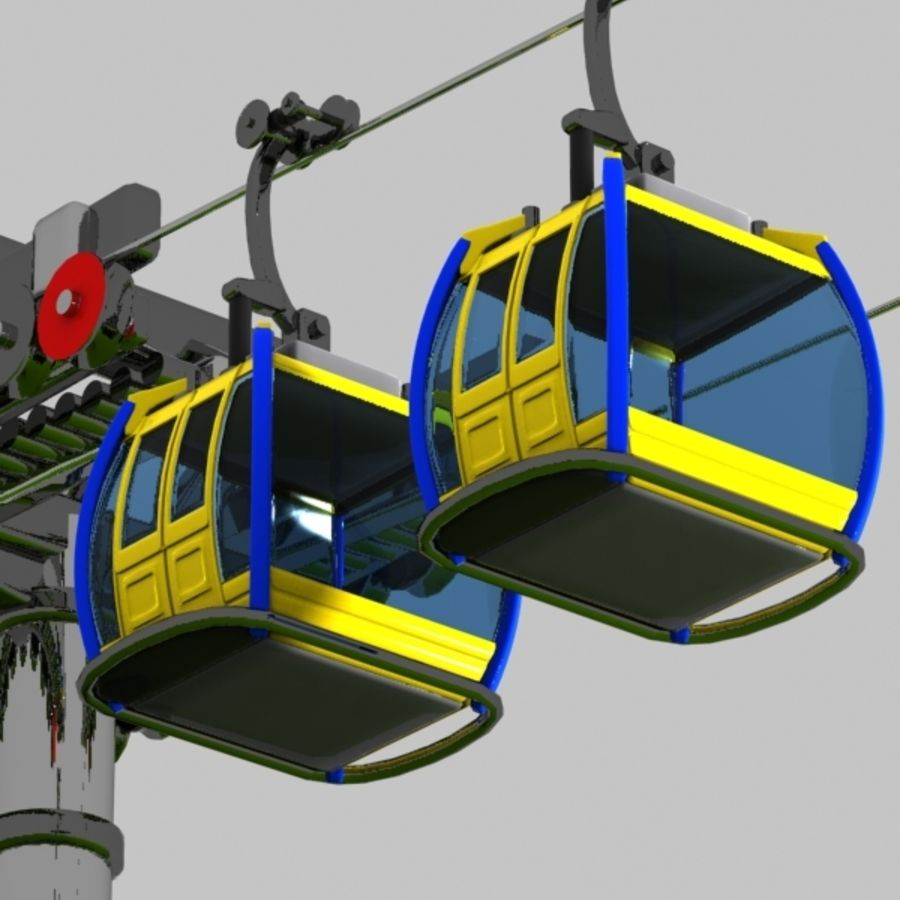 Cartoon Aerial Tramway royalty-free 3d model - Preview no. 2