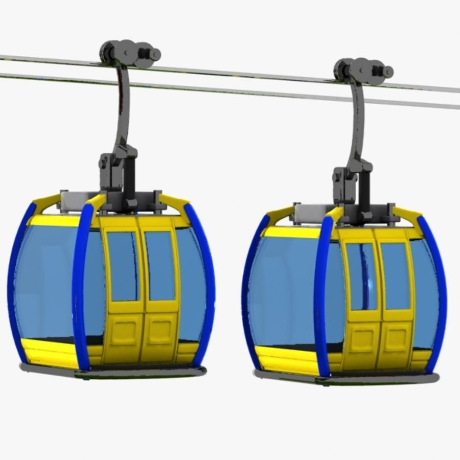 Cartoon Aerial Tramway royalty-free 3d model - Preview no. 4
