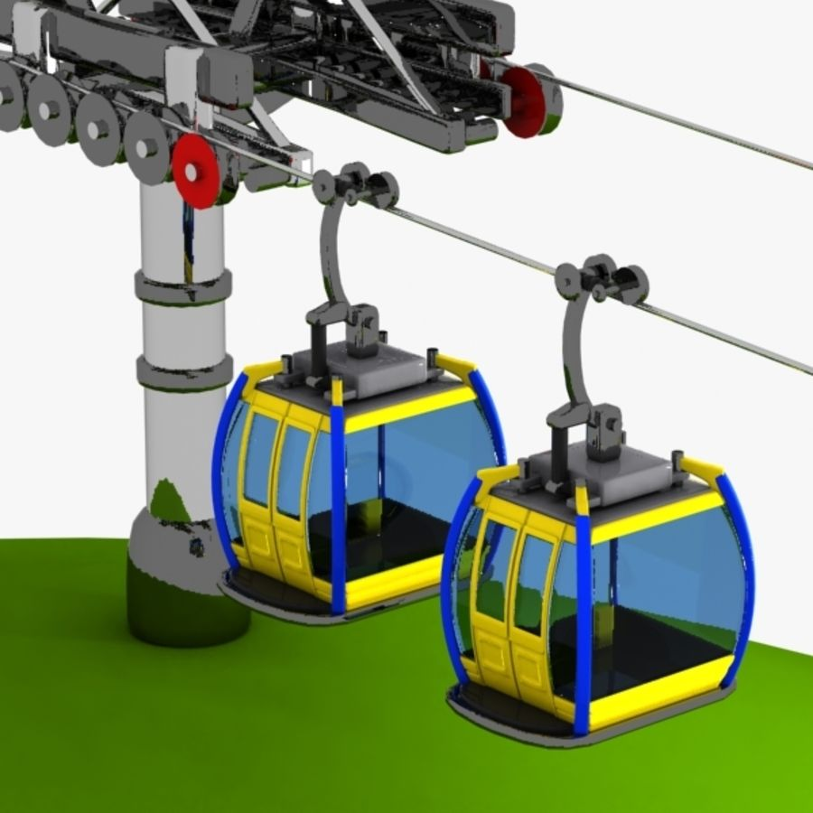 Cartoon Aerial Tramway royalty-free 3d model - Preview no. 3
