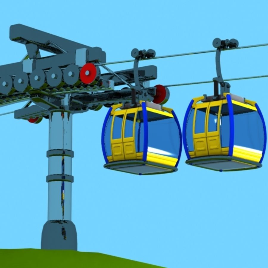 Cartoon Aerial Tramway royalty-free 3d model - Preview no. 7