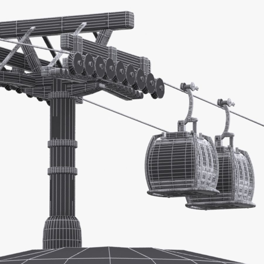 Cartoon Aerial Tramway royalty-free 3d model - Preview no. 11
