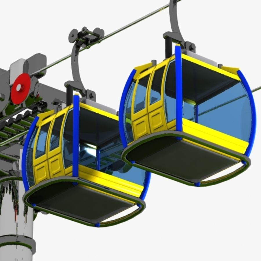 Cartoon Aerial Tramway royalty-free 3d model - Preview no. 1