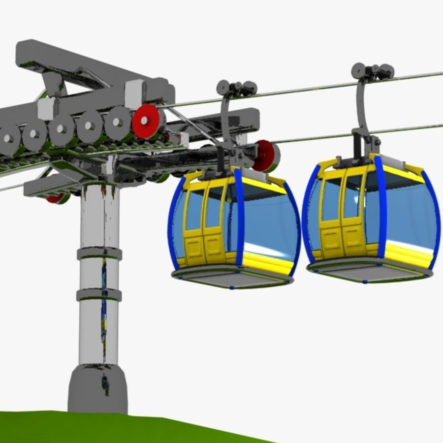 Cartoon Aerial Tramway royalty-free 3d model - Preview no. 6