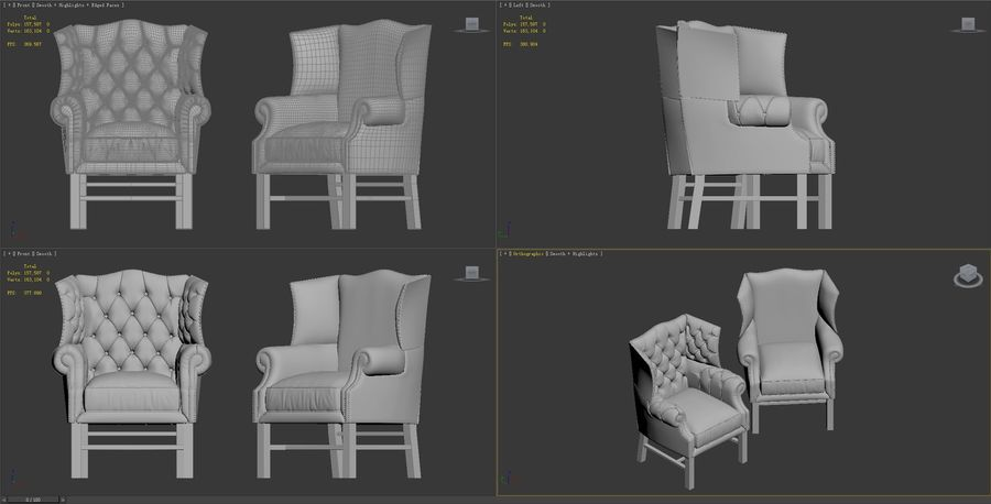 wingback-stol royalty-free 3d model - Preview no. 9