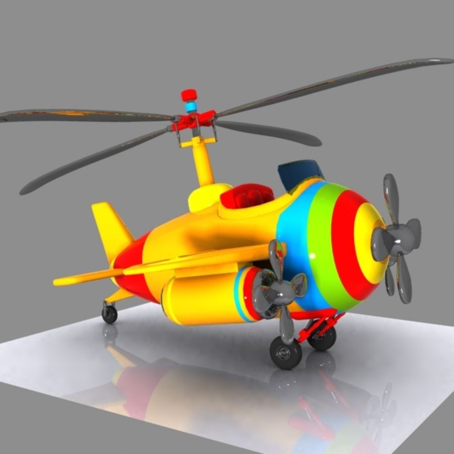 Cartoon Aircraft-Helicopter Hybrid royalty-free 3d model - Preview no. 2