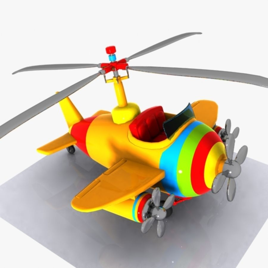 Cartoon Aircraft-Helicopter Hybrid royalty-free 3d model - Preview no. 3