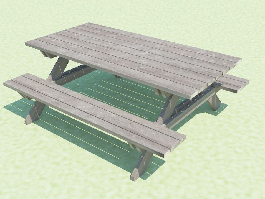 Picnic Table D Model Obj Fbx Dwg Ds Max FreeD - Picnic table dwg