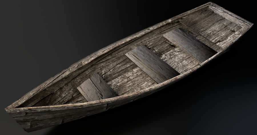 Old Barton Skiff Game Asset royalty-free 3d model - Preview no. 2