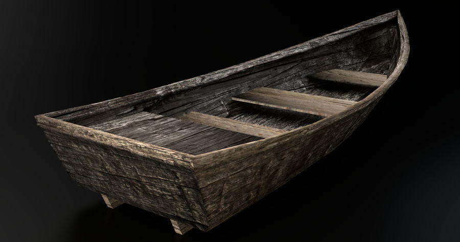 Old Barton Skiff Game Asset royalty-free 3d model - Preview no. 1