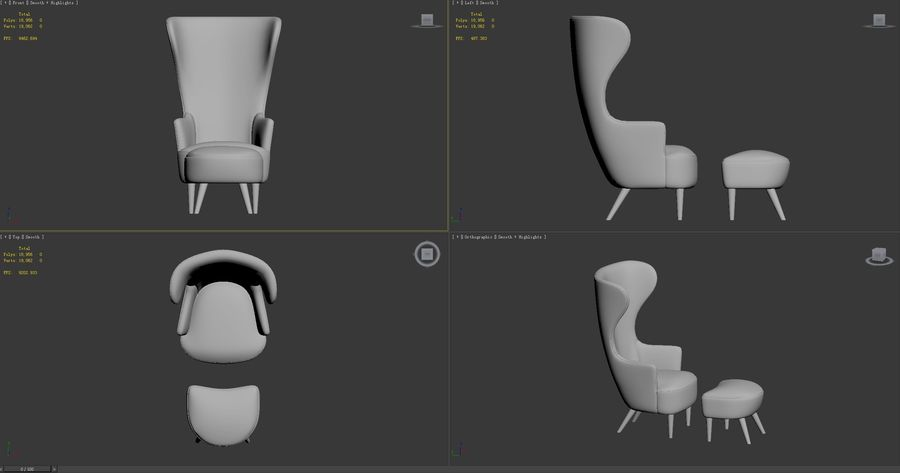 Wingback-Fåtölj royalty-free 3d model - Preview no. 9
