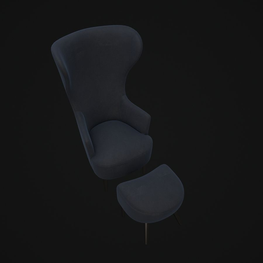 Wingback-Fåtölj royalty-free 3d model - Preview no. 5
