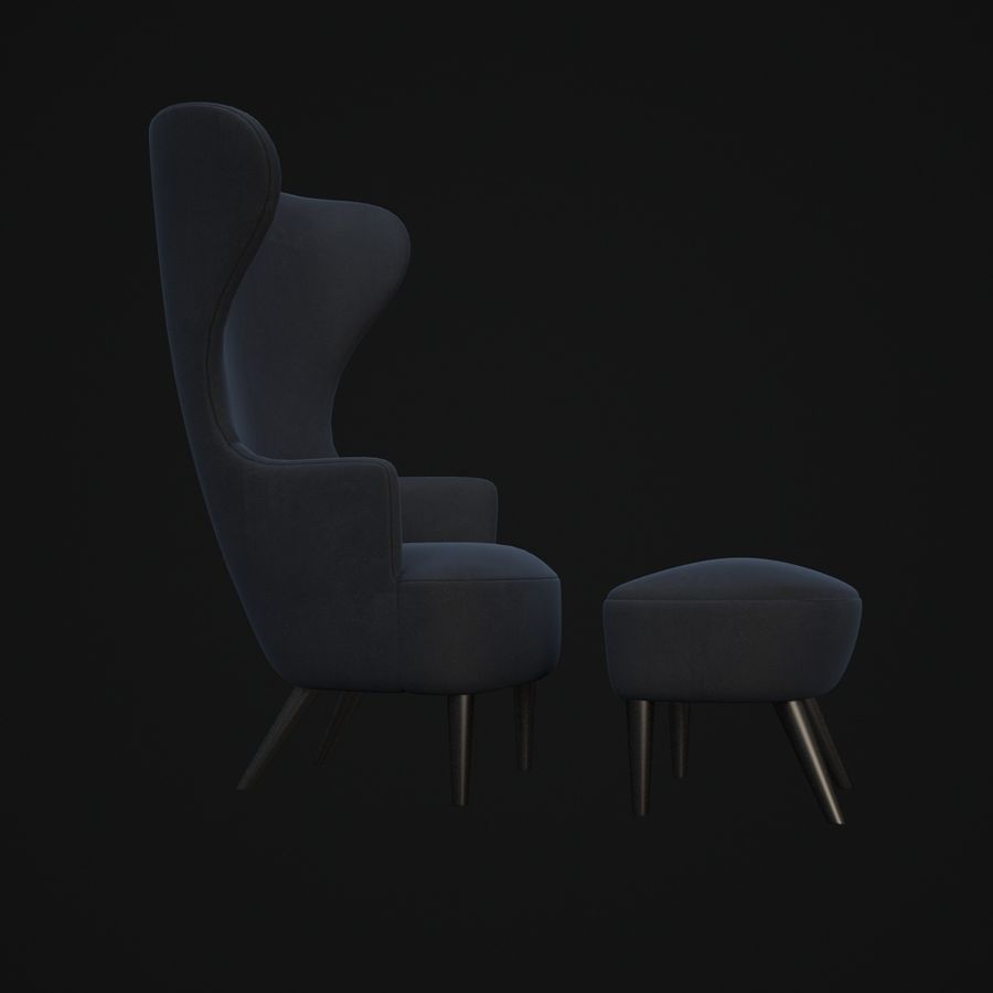 Wingback-Fåtölj royalty-free 3d model - Preview no. 7