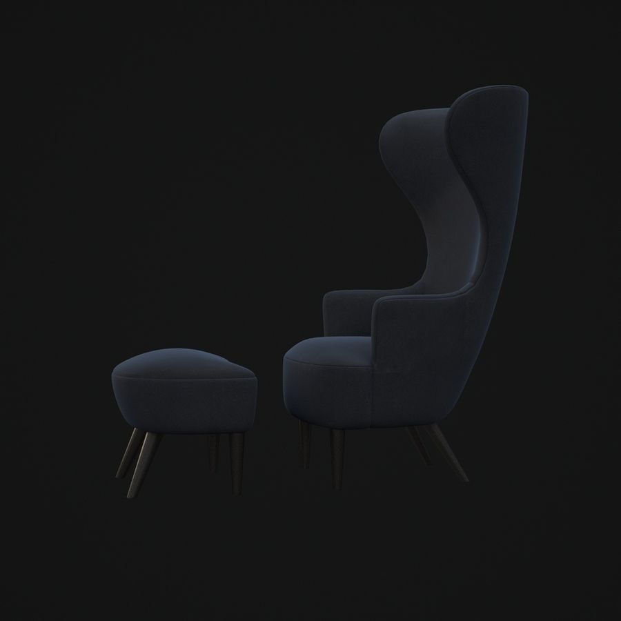 Wingback-Fåtölj royalty-free 3d model - Preview no. 6