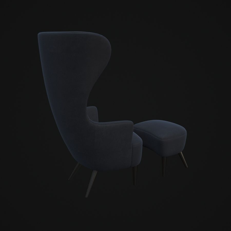 Wingback-Fåtölj royalty-free 3d model - Preview no. 4