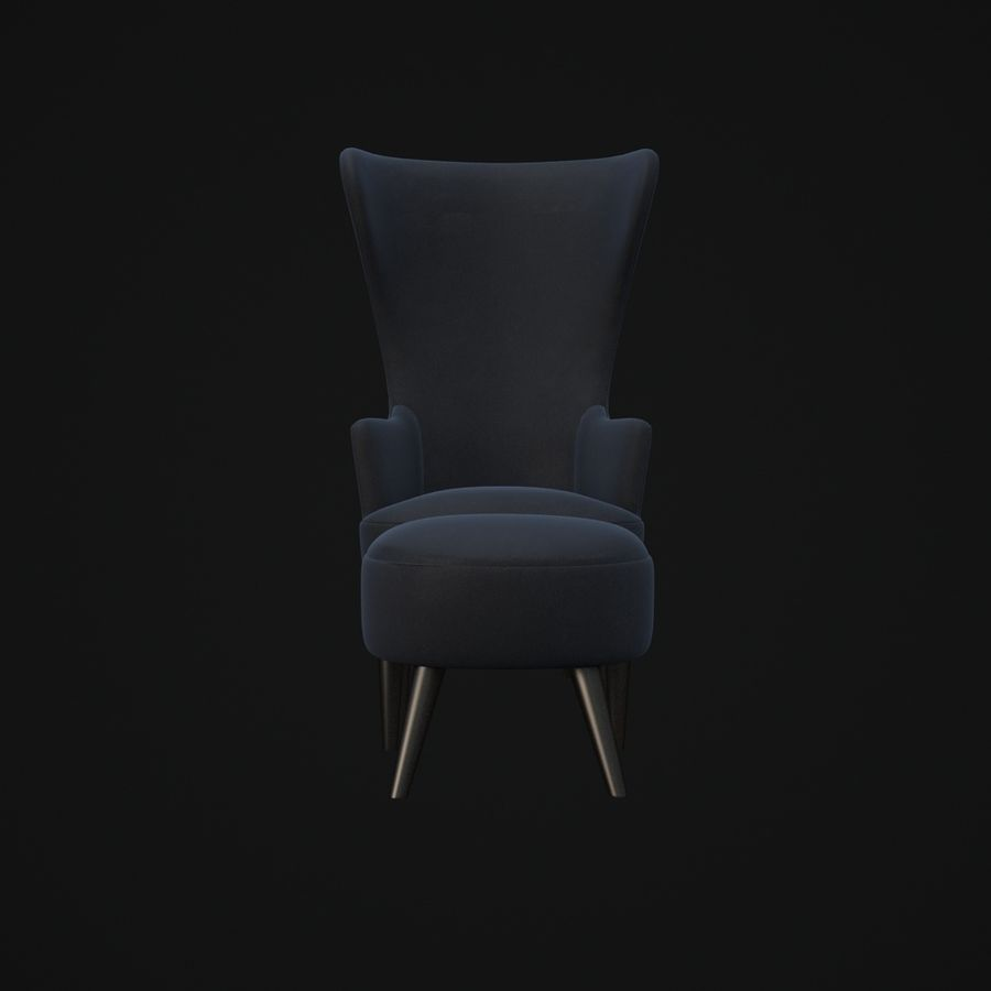 Wingback-Fåtölj royalty-free 3d model - Preview no. 2