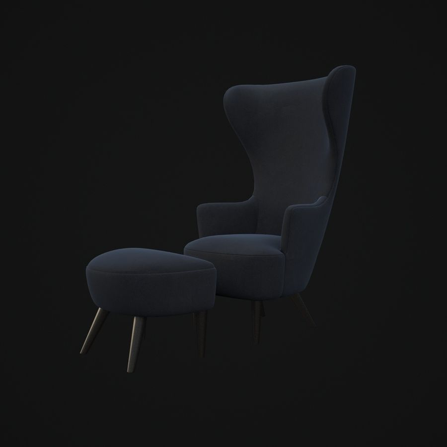 Wingback-Fåtölj royalty-free 3d model - Preview no. 8
