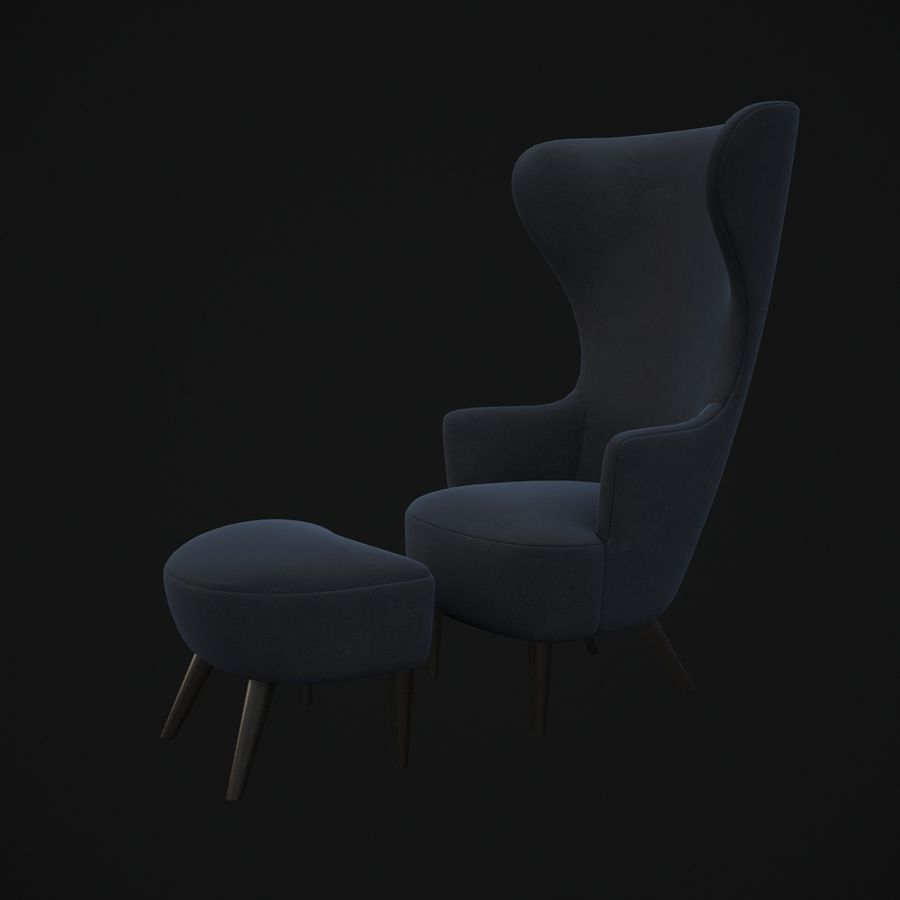 Wingback-Fåtölj royalty-free 3d model - Preview no. 3