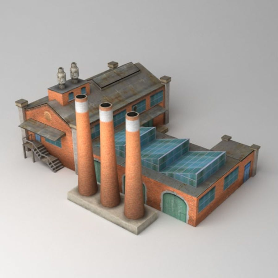 Lowpoly factory v2 royalty-free 3d model - Preview no. 3