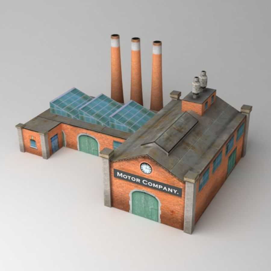 Lowpoly factory v2 royalty-free 3d model - Preview no. 1