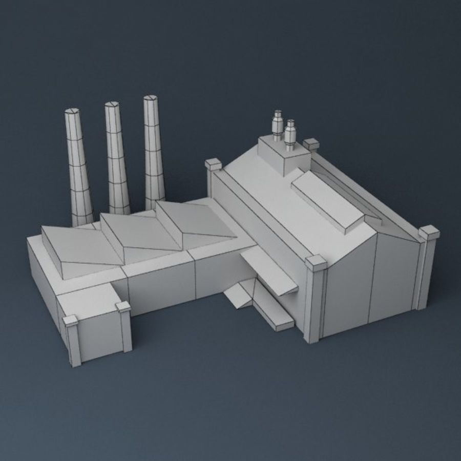 Lowpoly factory v2 royalty-free 3d model - Preview no. 7