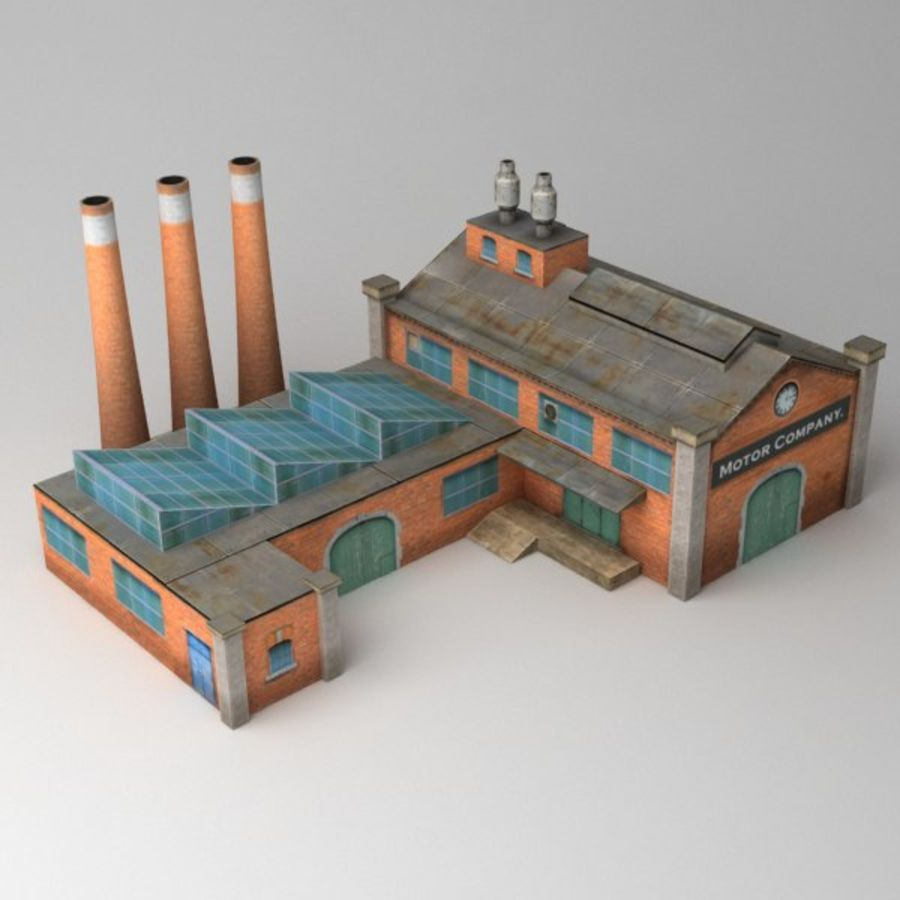 Lowpoly factory v2 royalty-free 3d model - Preview no. 2