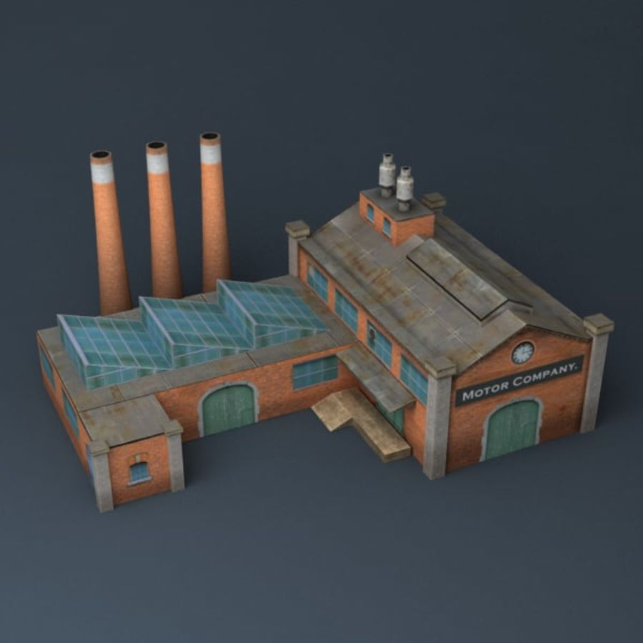 Lowpoly factory v2 royalty-free 3d model - Preview no. 6