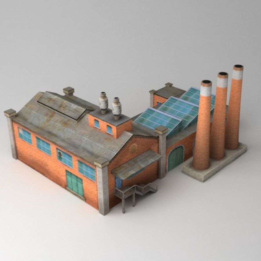 Lowpoly factory v2 royalty-free 3d model - Preview no. 4