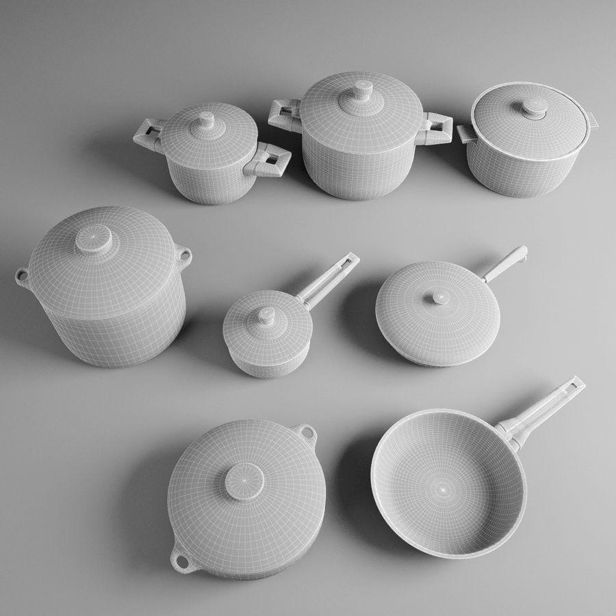 Pots & Pans Set royalty-free 3d model - Preview no. 9