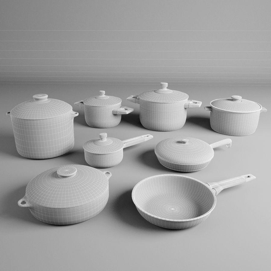 Pots & Pans Set royalty-free 3d model - Preview no. 8