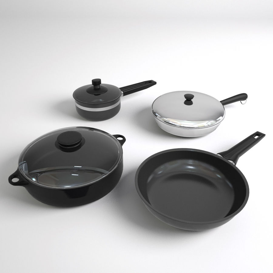 Pots & Pans Set royalty-free 3d model - Preview no. 6