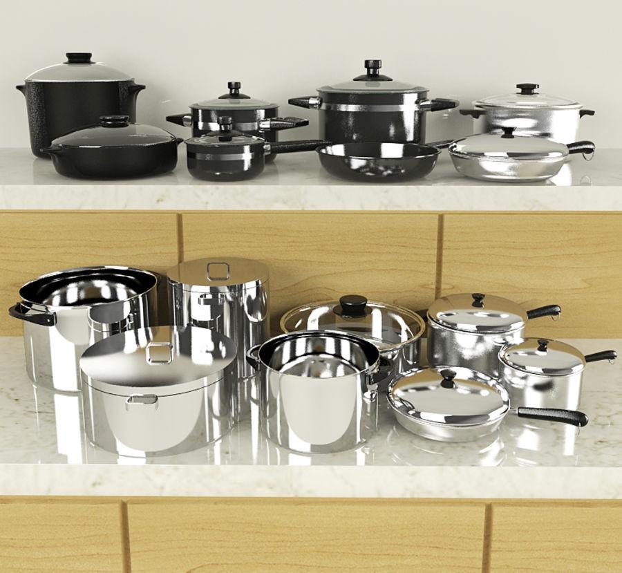Pots & Pans Set royalty-free 3d model - Preview no. 1