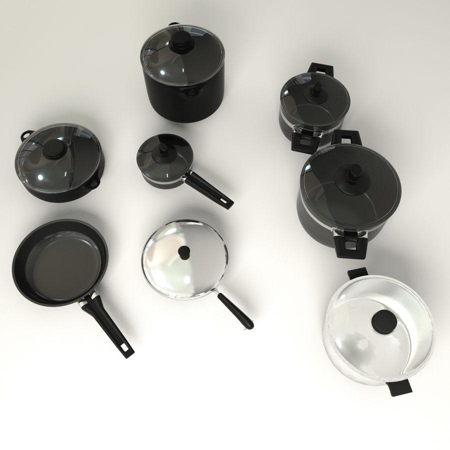 Pots & Pans Set royalty-free 3d model - Preview no. 4