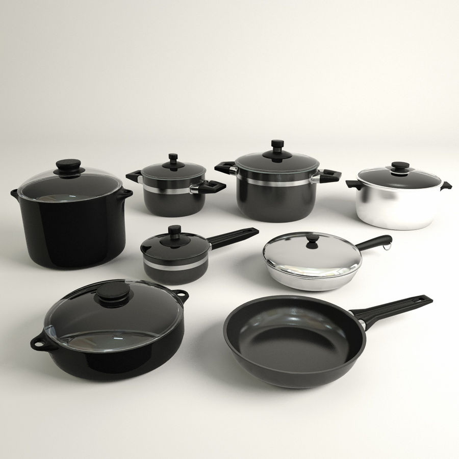 Pots & Pans Set royalty-free 3d model - Preview no. 2