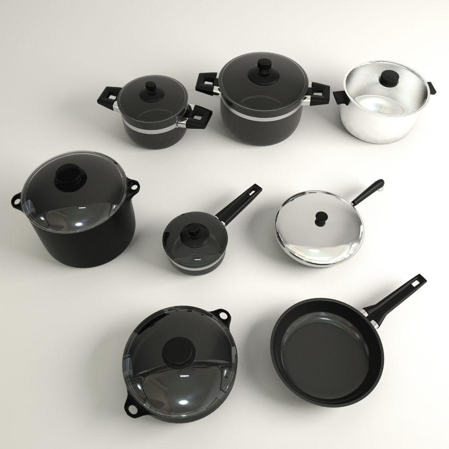 Pots & Pans Set royalty-free 3d model - Preview no. 3