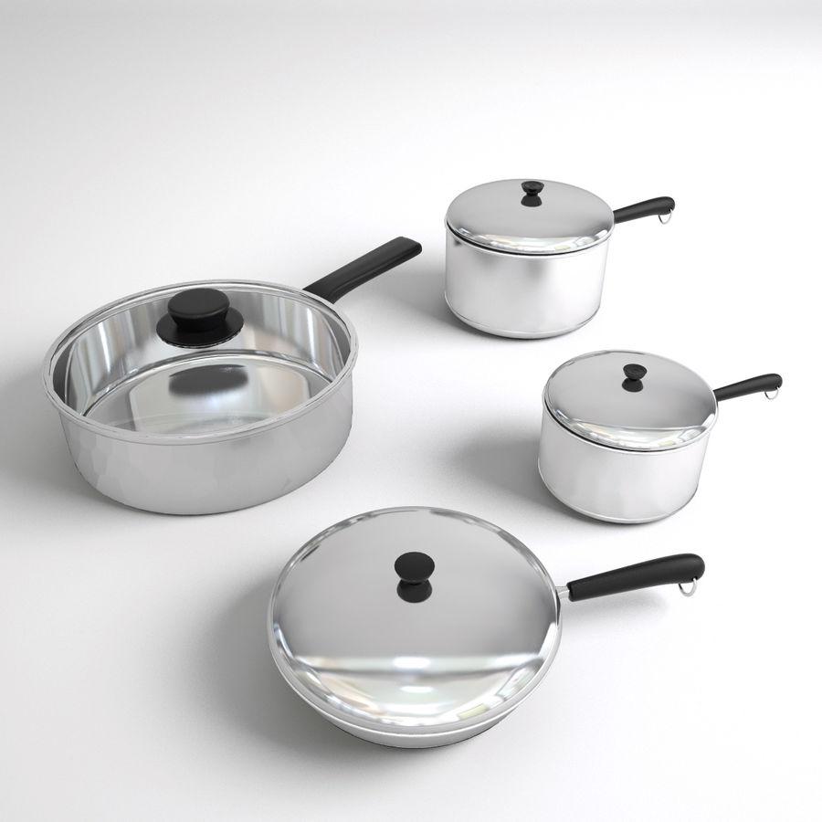 Pots & Pans Set royalty-free 3d model - Preview no. 7