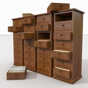 Simple Wooden office Document Cabinet archive files record repository ID paper identity 3d model