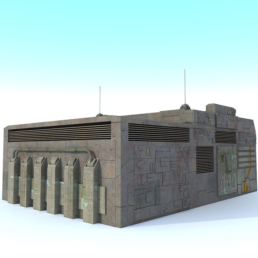 Sci fi Building E textured royalty-free 3d model - Preview no. 4