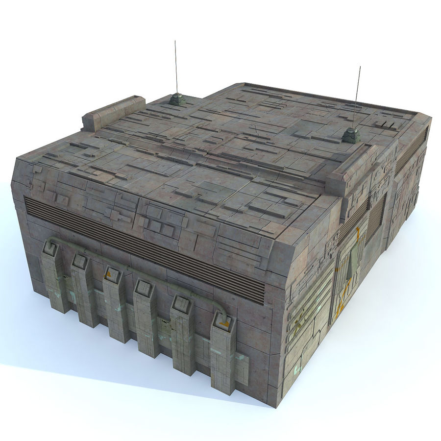 Sci fi Building E textured royalty-free 3d model - Preview no. 1