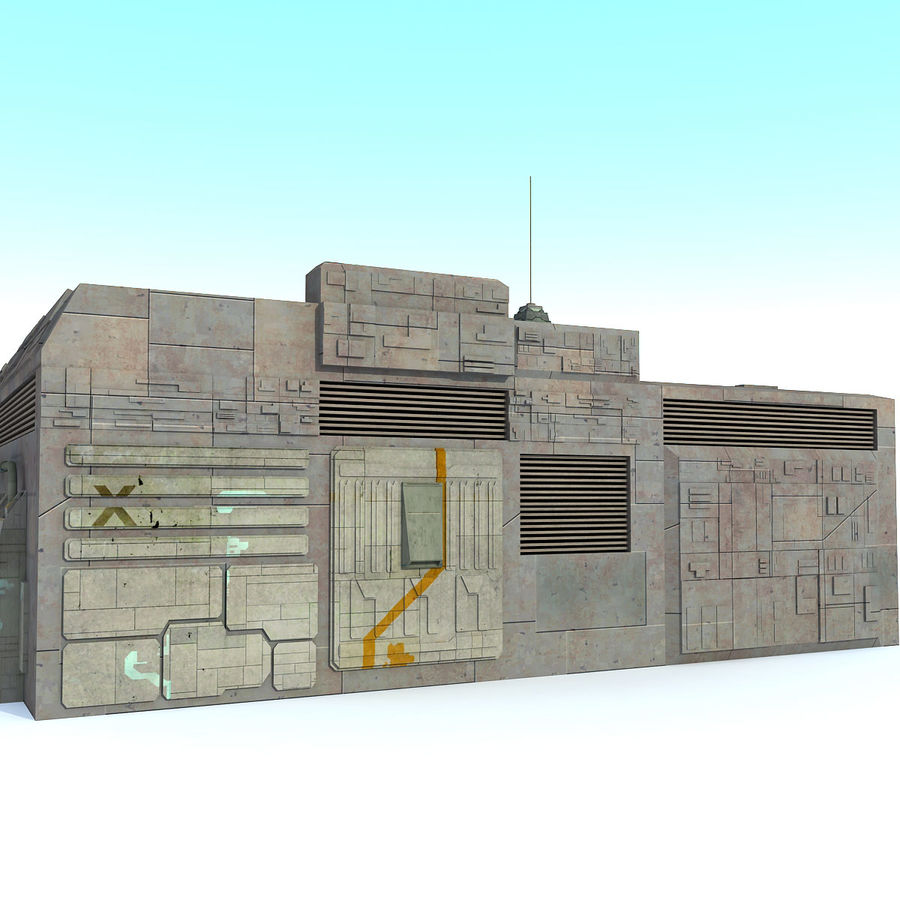 Sci fi Building E textured royalty-free 3d model - Preview no. 3
