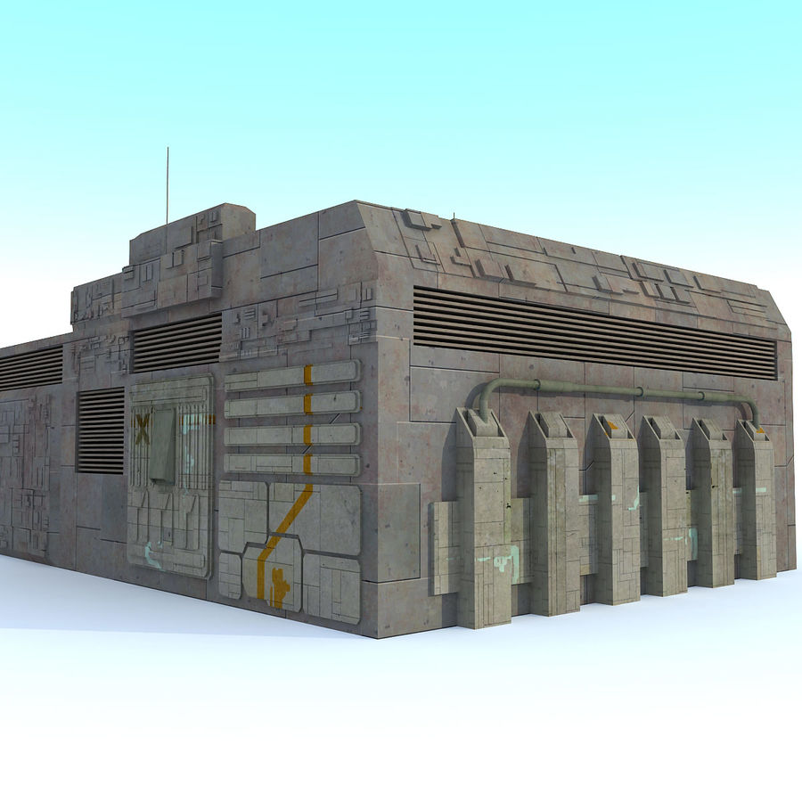 Sci fi Building E textured royalty-free 3d model - Preview no. 2
