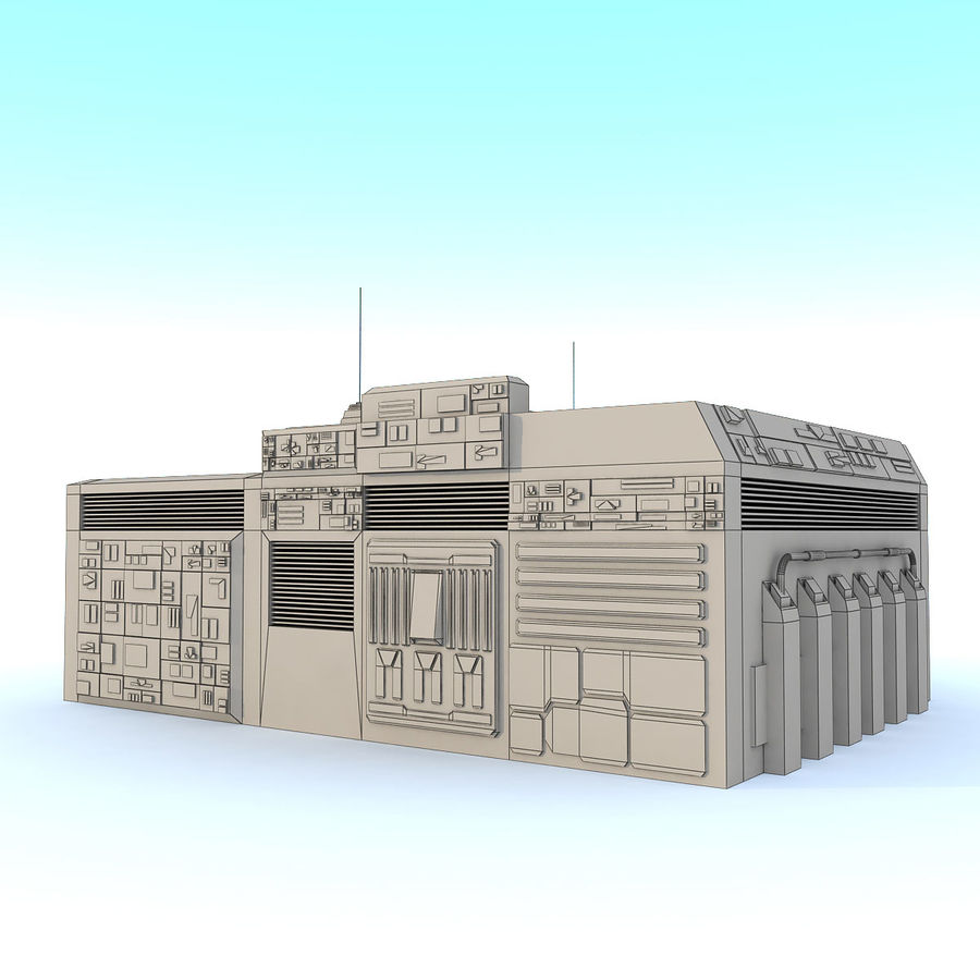 Sci fi Building E textured royalty-free 3d model - Preview no. 7