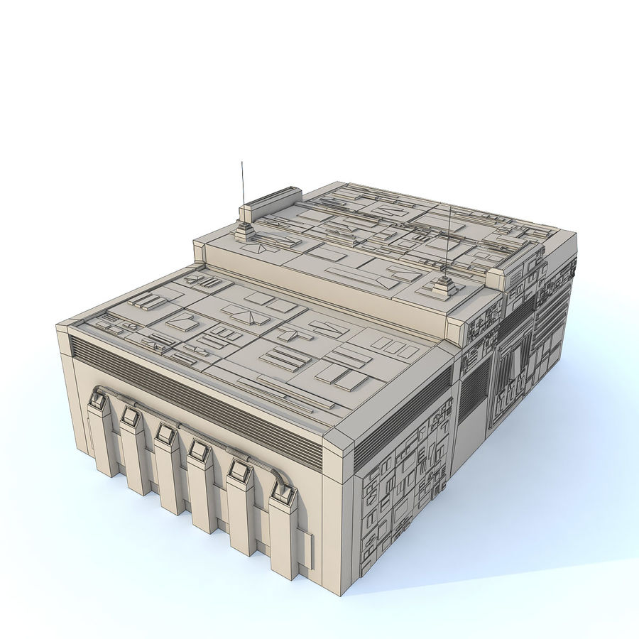 Sci fi Building E textured royalty-free 3d model - Preview no. 6